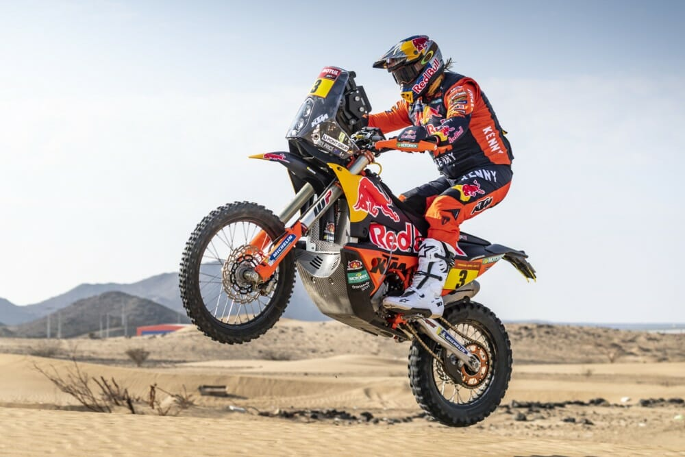 Toby Price does a shakedown run on this KTM Rally Bike before the 2021 Dakar Rally