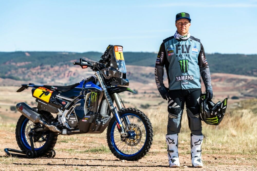 Andrew Short poses with his Monster Energy Yamaha Factory Rally bike
