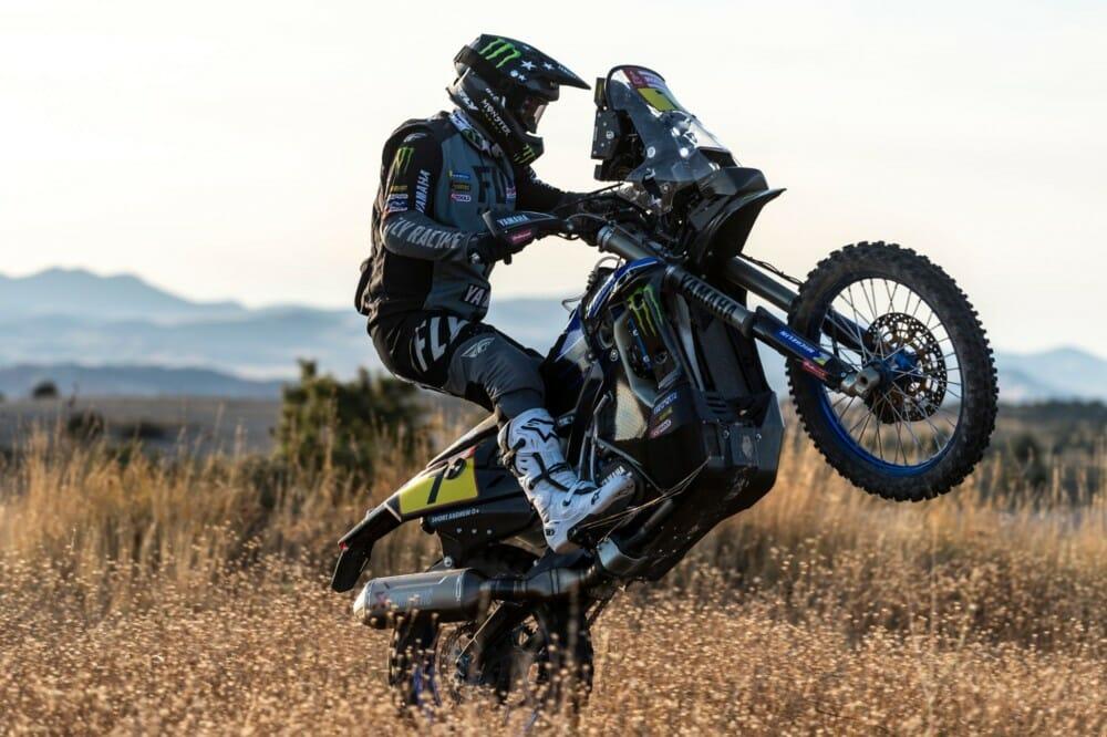 Andrew Short wheelies his Monster Energy Factory Yamaha Rally bike
