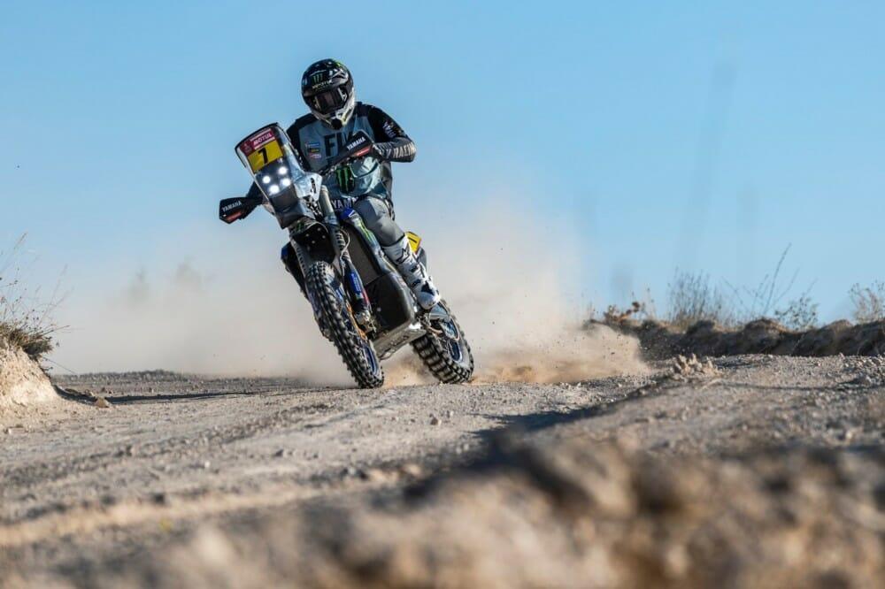 Andrew Short slides his Monster Energy Yamaha Rally bike
