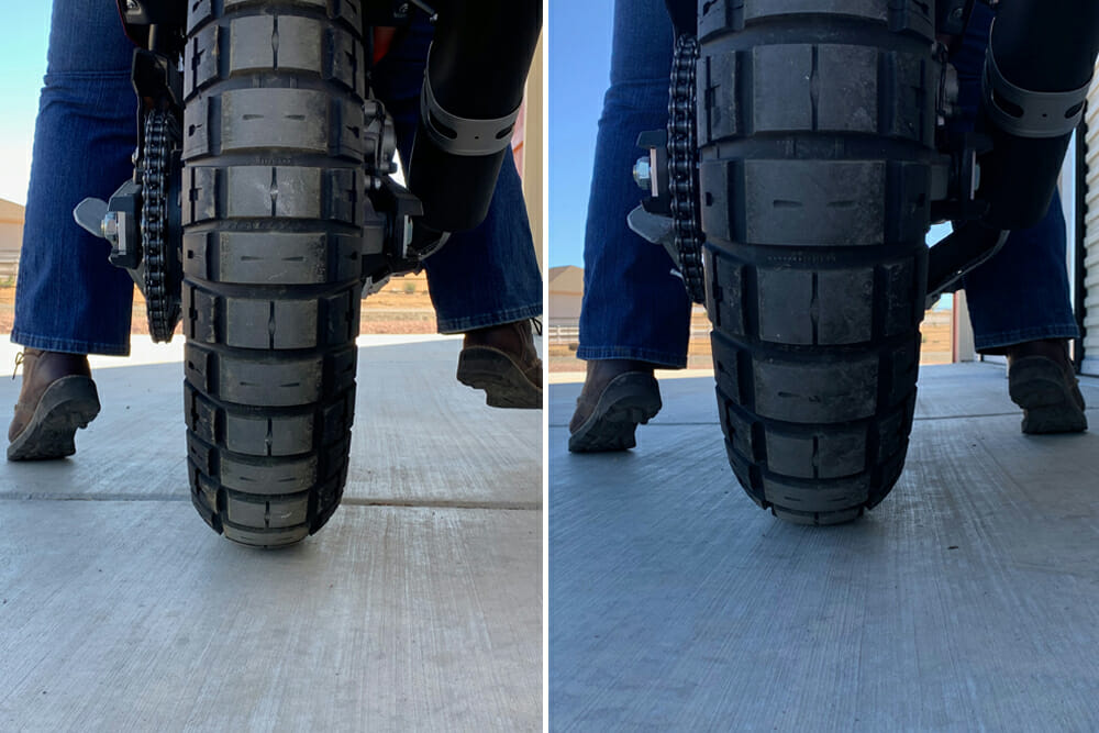 before and after installing Touratech's Yamaha Tenere 700 Suspension Lowering Kit