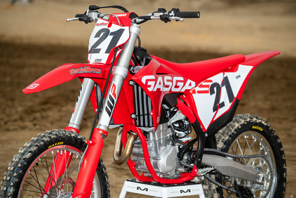 2021 GasGas MC 450F front view of fork