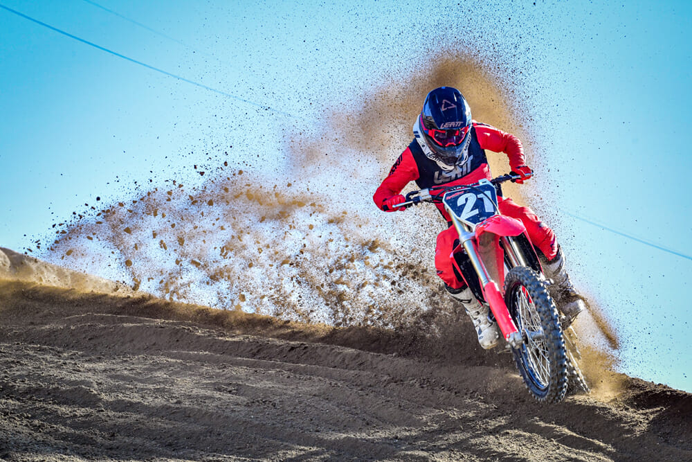2021 Honda CRF250R throwing roost