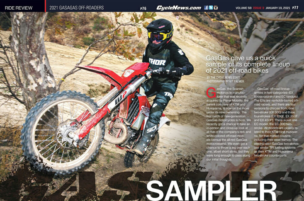 Cycle News magazine with 2021 GasGas Off-Roaders review