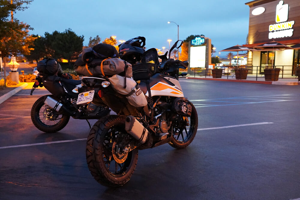 KTM 390 Adventure motorcycles in parking lot
