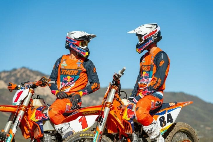 Taylor Robert and Trystan Hart wearing the new FMF Vision goggles