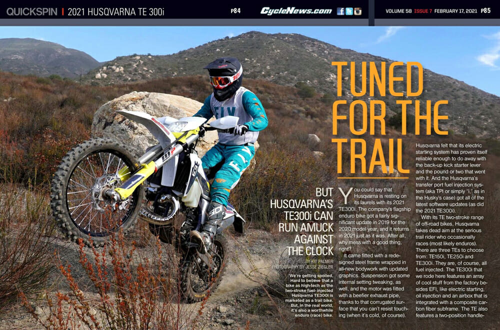 Cycle News Magazine 2021 Husqvarna TE 300i Review