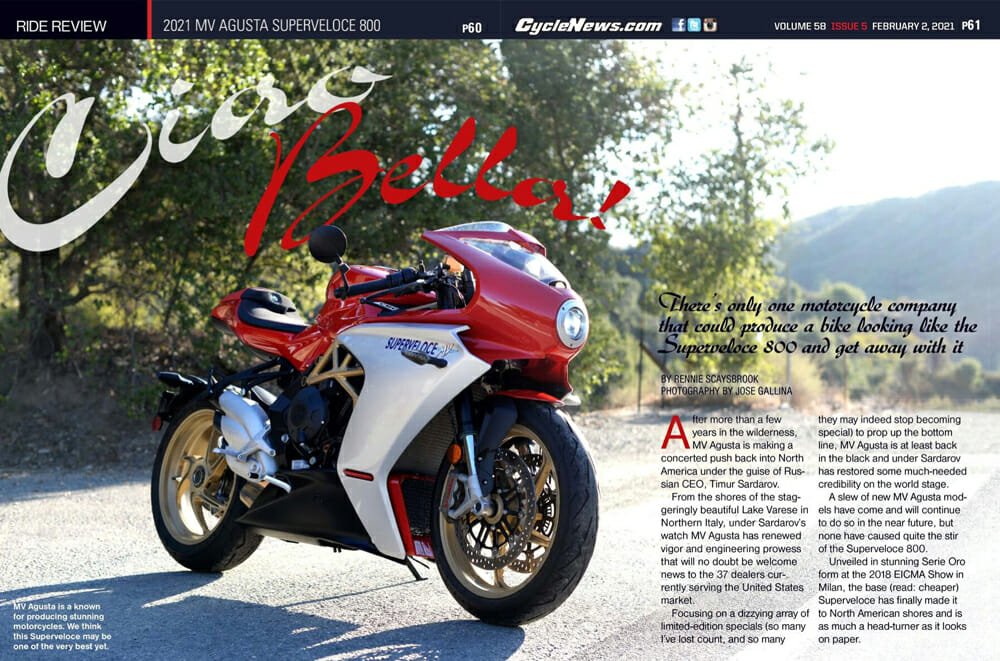 Cycle News Magazine review of 2021 MV Agusta Superveloce 800