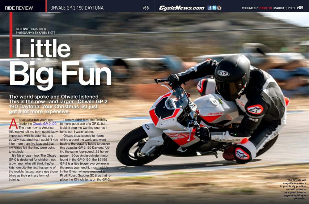Cycle News Ohvale GP-2 190 Daytona Review