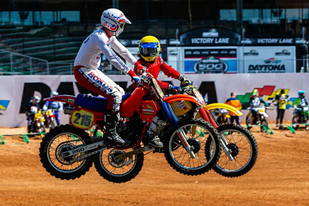 Honda and Yamaha racing at 2021 Daytona Vintage Supercross