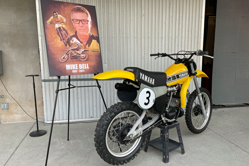 Mike Bell YZ250 and championship poster