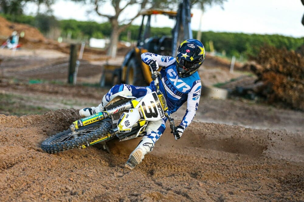 Mike Brown wearing FXR Racing Revo Flow Gear