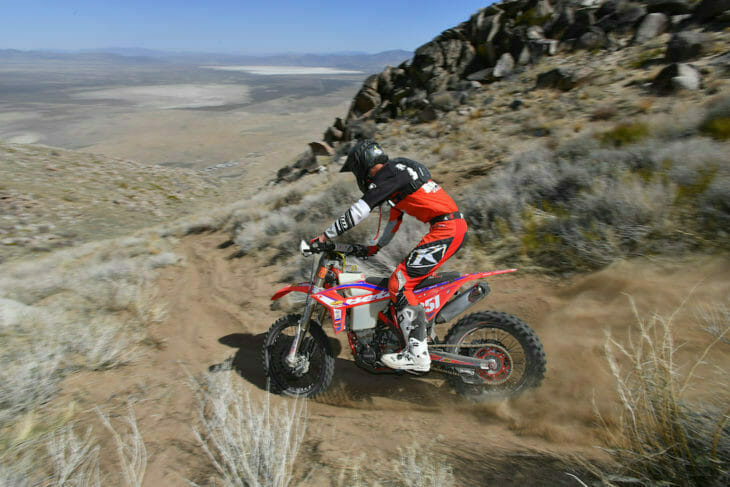 Zane Roberts led a Beta 1-2 sweep at the AMA West Hare Scrambles opener. Photo: Mark Kariya