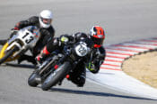 AHRMA road racers Clint Austin (#720) and Jason Lindquist (#13). Photo by Etech Photo