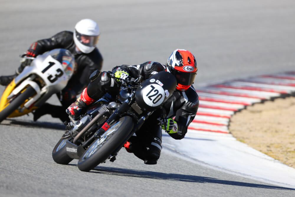 AHRMA road racers Clint Austin (#720) and Jason Lindquist (#13). Photo by Etech Photo